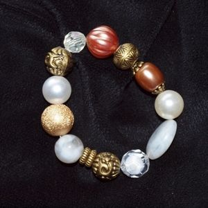 Jewelry - 3/$30!! White, gold, brass bracelet boho, vintage
